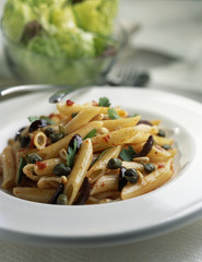 Penne with capers,olives and pinenuts