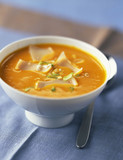 pumpkin soup with comté and oatmeal