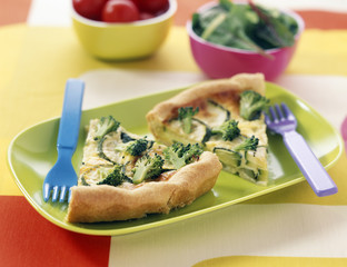 Broccoli and courgette quiche