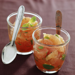 Pink grapefruit with fresh mint and grenadine syrup