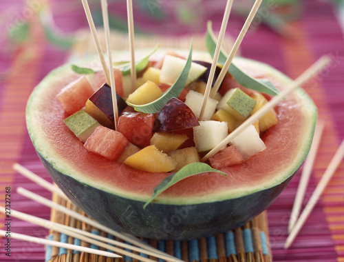 fruit salad surprise in melon