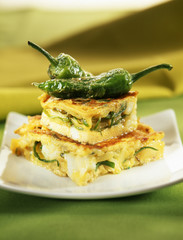 Potato,cod and green pepper omelette