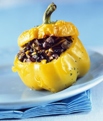 Pepper stuffed with spicy bull's meat