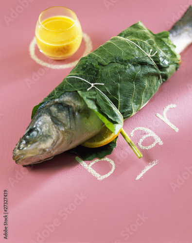 Bass wrapped in fig leaf