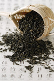 Loose green tea with sieve