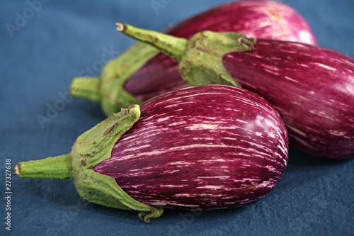 Purple streaked eggplants