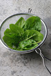 Fresh spinach in strainer