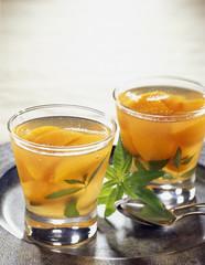 peaches in verbana jelly terrine