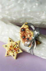 Star and moon shaped biscuits
