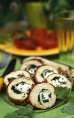 Rolled chicken breasts with herbs