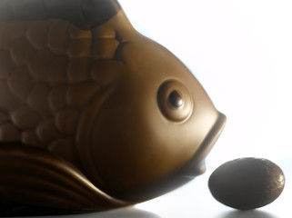 Chocolate Easter fish and egg