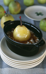 Rice pudding with poached pear