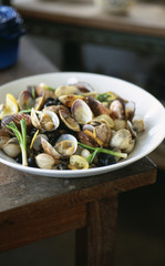 Plate of cockles and carpet-shell-clams