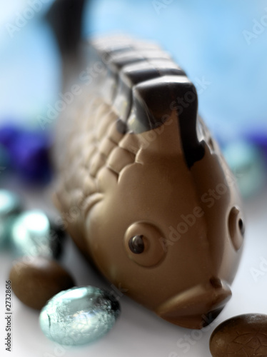 Chocolate Easter fish and eggs