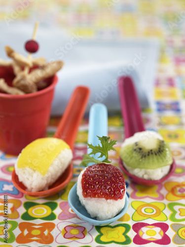 Rice balls with fruit