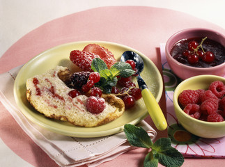 Omelette soufflée with summer fruit