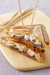 Parma ham,mushroom and mascarpone toasted sandwich