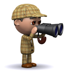3d Young detective looks through his binoculars