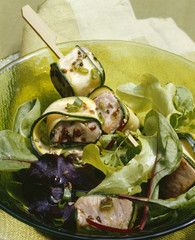 Tuna,courgette and aniseed brochettes