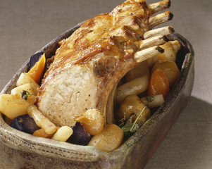 Braised loin of pork with root vegetables