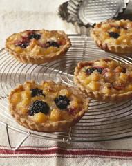 Quince and blackberry tartlets