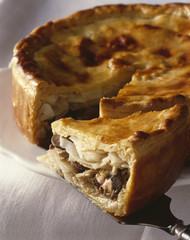 Celery,mushroom and foie gras pie