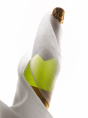 Bottle of champagne wrapped in a light cloth