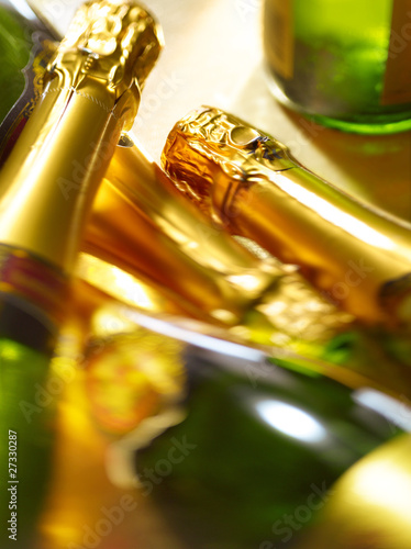 Necks of champagne bottles