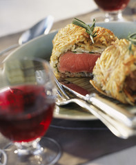 lamb in pastry crust with potatoes