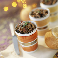 Potted duck with ceps