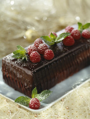 Chocolate and raspberry log cake