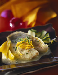 John Dory fillet with orange butter sauce