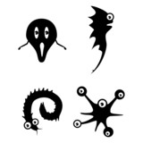 bacteria worms vector collection silhouette on white background poster
