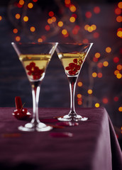 Redcurrant cocktails with golden leaves
