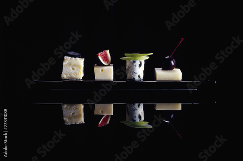Assorted cheese and fruit delicacies