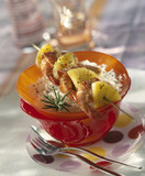 Spicy gambas and pineapple brochettes