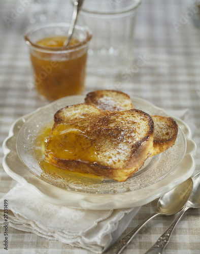 Brioche french toast with apricot jam