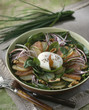 Potato,salmon,spinach and soft-boiled egg salad