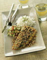 Grouper with peanut crust and white wine