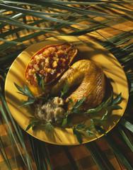 Roast chicken with papaya