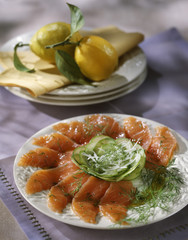 Smoked salmon and cucumber Carpaccio with dill