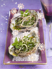 Oysters with pesto