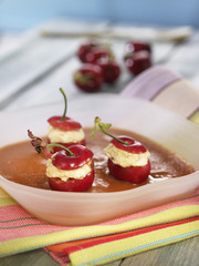 Medlar Agar-agar and stuffed cherries