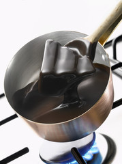 Melting dark chocolate in a copper saucepan