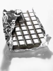 Dark chocolat bar in aluminium foil