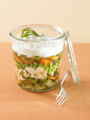 Verrine of chicken and vegetable aspic terrine