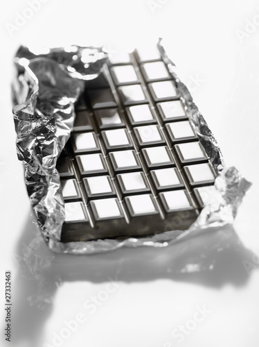 Dark chocolat bar in aluminium foil