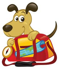 Dog Behind A Big Traveling Bag