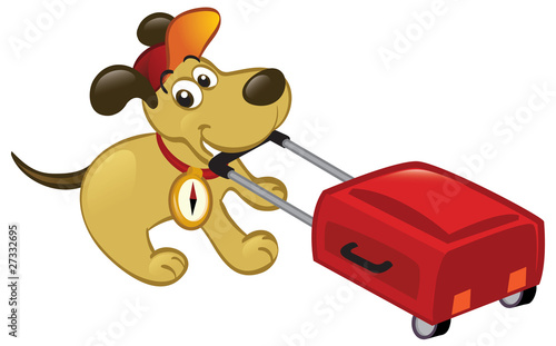 Traveling Dog Pulling A Luggage