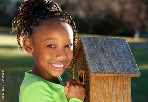 African Child Having Fun in a Park